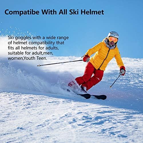 Ski Snow Goggles Over Glasses for Men Women with OTG&Anti Fog Lens