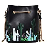 Sherry Bucket Bag Women Mini Drawstring Bucket Handbags Floral Crossbody Purse Faux Leather Travel Messenger Shoulder Bag (Black)