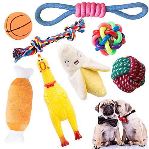 HI Small-Medium Dog Toy Set Indoor or Outdoor Pure Cotton Rope chew Toy Squeak Toys Dog Ball Plush Dog Toy Screaming Chicken, Beautiful and Durable