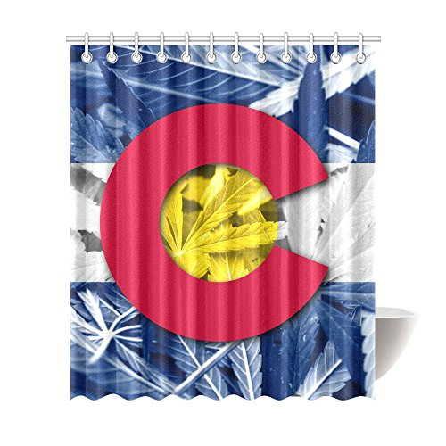 Interestprint Colorado State Flag On Cannabis Home Decor  United State Flag Waterproof Polyester Bathroom Shower Curtain Bath With Hooks  72 Wide  X 84 Height  Inches