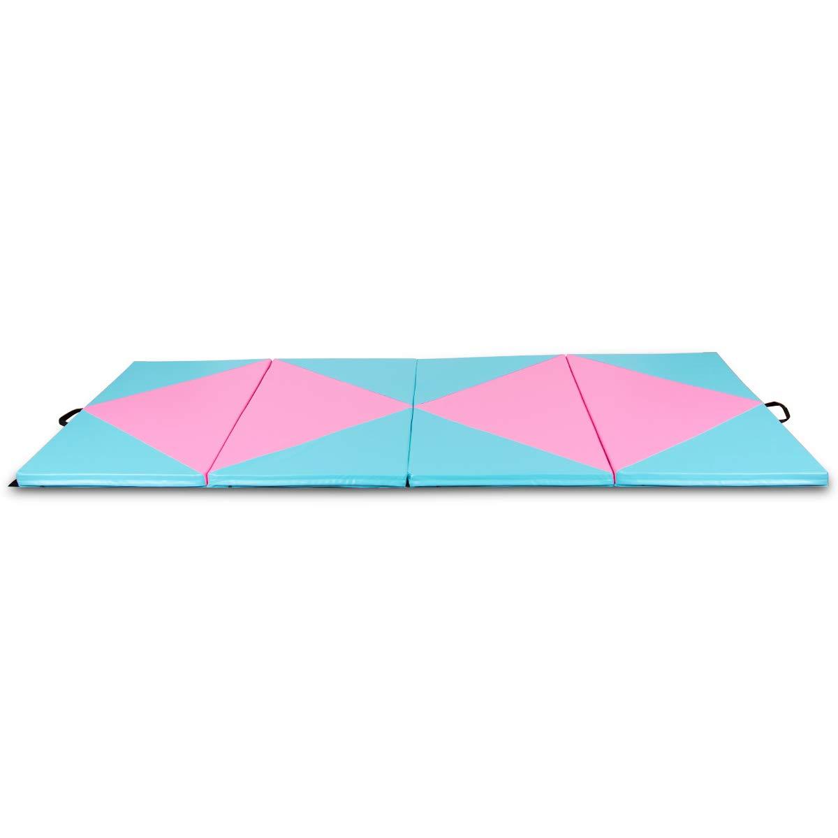 Gymax 体操マット 4フィートx10フィートx2 折りたたみ式厚手マット エクササイズ用ポータブルパネル フックとループファスナー付き エアロビクスヨガ 体操 ストレッチ コアワークアウトに最適 B07KC76SFL ブルー