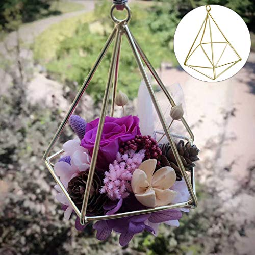 (Wffo DIY Creative Elegant Beautiful Geometric Soilless Wrought Iron Flower Stand Flower Plant Pendant ♚♚Home Garden Decor(Gold))