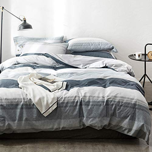 OREISE Duvet Cover Set Full/Queen Size 100% Cotton Bedding Set Gray Blue White Printed Striped Style,3Piece (1 Duvet Cover + 2 Pillowcase),Comfortable Luxurious Hypoallergenic (Blue Full Duvet)