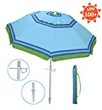 YATIO—7ft Beach Umbrella with Tilt and Integrated long Sand Anchor,Windproof, Sun protection SPF/UPF100+, Blue/Green stripe