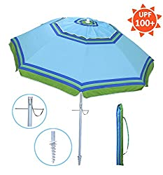 Yatio---7ft Beach Umbrella With Tilt & Integrated Long Sand Anchor,windproof, Sun Protection Spfupf100+, Bluegreen Stripe