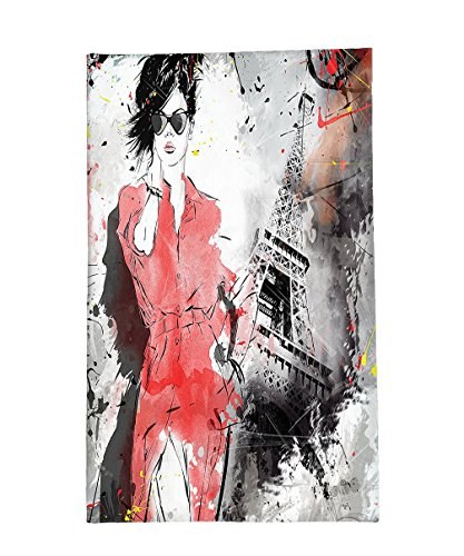 French Revolution Female Costume (Interestlee Fleece Throw Blanket Paris Decor Collection Modern Parisienne French Fashion Icon Lady Woman on Complex Grunge Background Modern Print Red Black)