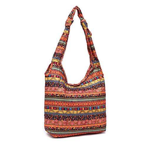 SOSUSHOE Womens Sling Crossbody Bag Hippie Hobo Shoulder Bag Large Casual Cotton Handbag by SOSUSHOE
