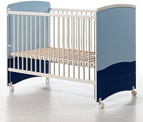 Cuna barrotes con lateral abatible. 3 Alturas somier. Incluye ruedas con freno. Tamaño 60x120 cm. Oferta especial. Color Blanco-Azul y Marino