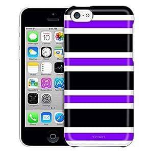 Apple iPhone 5C Case, Slim Fit Snap On Cover by Trek Preppy Stripes Purple Black White Trans Case