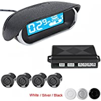 ePathChina® Dual CPU Car/Truck/Vehicle Mini Car LED Display 4 Sensors Kit Reversing Parking Sensor/Backup Sensor/Reversing Sensors System Radar Buzzer System,Three Stage Bi-Bi Sound Alarm(Silver)