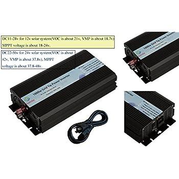 Solinba 1000w Pure Sine Wave Grid Tie Power Inverter DC22-56v to AC90-130v for 24v Solar System USA plug