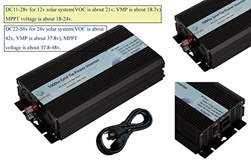 Solinba 1000w Pure Sine Wave Grid Tie Power Inverter DC22-56v to AC90-130v for 24v Solar System USA plug by solinba