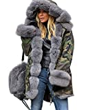 Roiii Winter Women Warm Fleece Hood Parka Overcoat Coat Long Fishtail Jacket Top