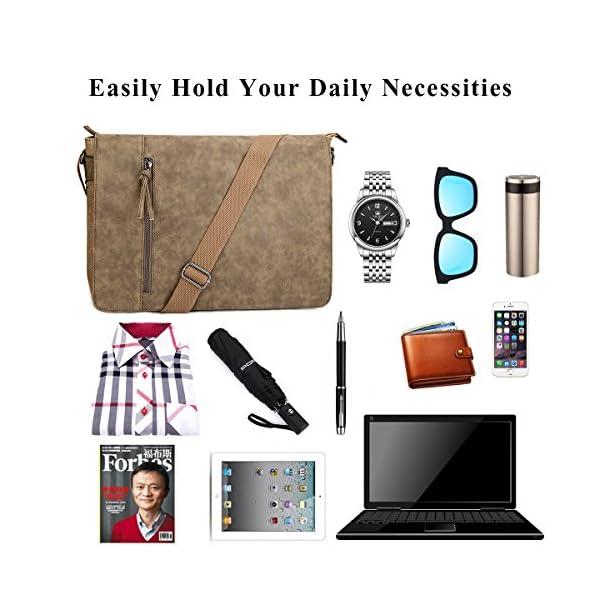 Tocode-Laptop-Messenger-Bag-165-inch-for-Men-and-Women-Vintage-Canvas-Waterproof-PU-Leather-Large-Crossbody-Shoulder-Bag-Computer-Laptop-Bag-Messenger-Bag-for-Business-School