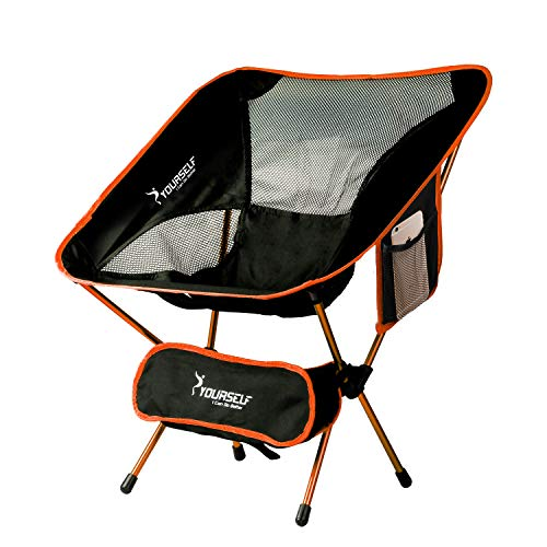 SYOURSELF Portable Folding Camping Chair-Lightweight,Compact,Comfortable, Breathable Beach Travel Mesh Chairs,Heavy Duty-Perfect for Backpacking Hiking Picnic Outdoors Sporting with Carry Bag(Orange)