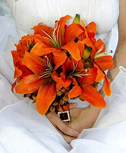 70 Tiger Lily Artificial Flowers Decor Orange YSefa ()