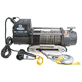 Superwinch 1511201 Tiger Shark 12V Winch with Aluminum Hawse and Synthetic Rope – 11500 lb. Load Capacity