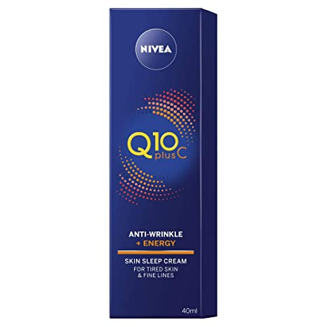 NIVEA Q10 Plus Vitamina C Antiarrugas, crema de sueño para la piel, 40 ml