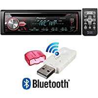 Pioneer DEH-X2900UI Single DIN In-Dash CD/AM/FM Car Stereo Receiver w/ Variable Color Illumination + USB Bluetooth Music Streaming Wireless Receiver (NOT FOR RECEIVING OR MAKING CALLS)