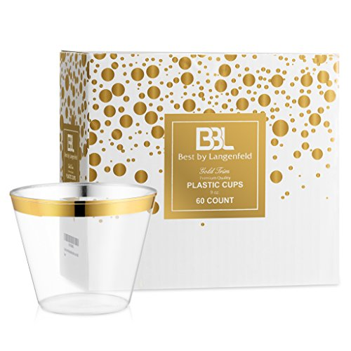 BBL Gold Rimmed Disposable Cups, 9 oz Clear Plastic Cups, Gold Rim Disposable Plastic Party Cups, Set of 60