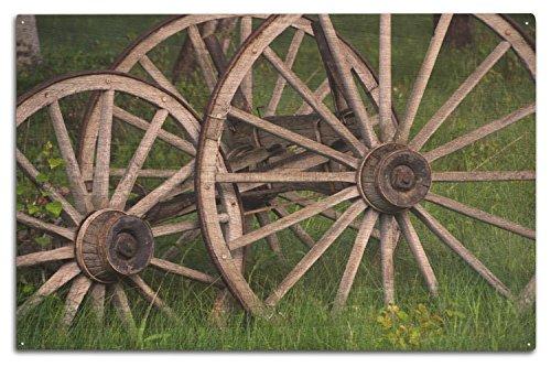 (Lantern Press Wagon Wheels (10x15 Wood Wall Sign, Wall Decor Ready to Hang))