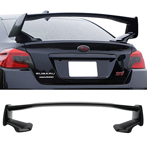 Trunk Spoiler Fits 2015-2019 Subaru WRX STI | Factory Style Unpainted Black ABS Trunk Boot Lip Spoiler Wing Deck Lid Other Color Available By IKON MOTORSPORTS | 2016 2017