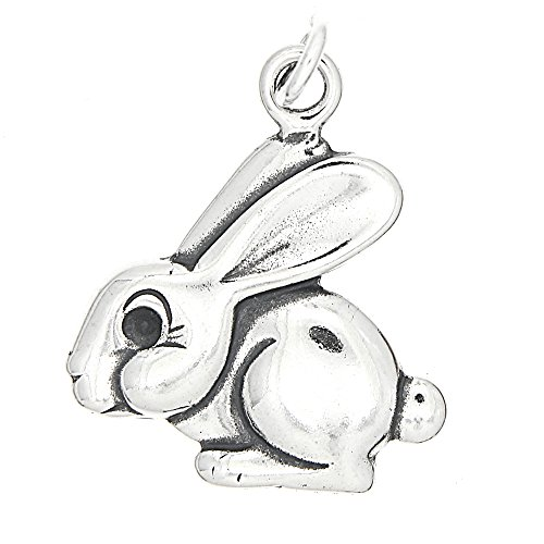 Sterling Silver Oxidized One Sided Big Bunny Rabbit Charm (Sterling Bunny Silver Rabbit Charm)