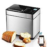 ALBOHES Bread Maker Machines 2.2LB Stainless Steel Gluten Free Bread Machine with Detachable Fruit & Nut Dispenser/Built-in Programmable Breadmaker for Beginner 17 Menu Settings APP Control