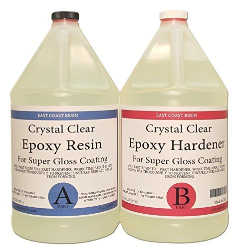 EPOXY RESIN CRYSTAL CLEAR 2 Gallon Kit. FOR SUPER GLOSS COATING AND TABLETOPS by East Coast Resin