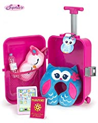 Is your 18 inch doll ready for vacation? Make sure she's packed and on her way with this doll travel set! The polka dot suitcase comes with an extending handle and wheels to easily roll anywhere she needs to go. Inside the suitcase you will f...