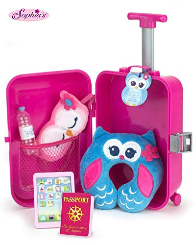 Sophia's Doll Travel Play Set 7Piece Doll Accessory Luggage Set for Your Favorite American Doll & More! Complete Doll Suitcase Travel Accessory Set (Girl American Doll Knockoff)
