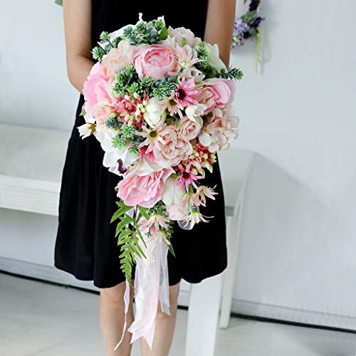Lace Bouquet Halter Rose - BROSCO Artificial Peony Daisy Leaves Silk Bridal Wedding Party Flower Bouquet Craft