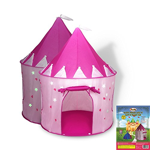 Princess Castle Play Tent for Girls with Glow in the Dark Stars - Children's Playhouse Popup Tent for Indoor & Outdoor Use with Pink Carrying Case