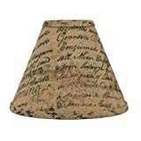 Home Collection by Raghu Indentured Burlap Black and Wheat Lampshade, 10-Inch