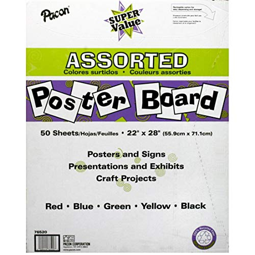 (Pacon Super Value Poster Board, 5 Assorted Colors, 22