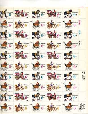 Christmas Variety Issue Sheet of 50 x 6 Cent US Postage Stamps NEW Scot 1415-18 from Post Office Dept