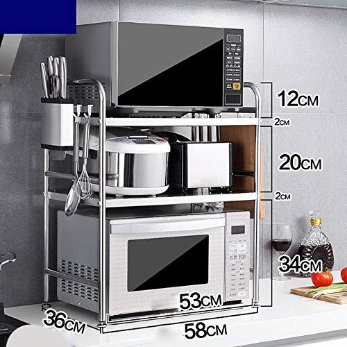 HJSS Estante De Microondas Estable Tres Pisos Inoxidable Mesa De Cocina Y Gabinete Estante De Acero Inoxidable Cuidadosamente...
