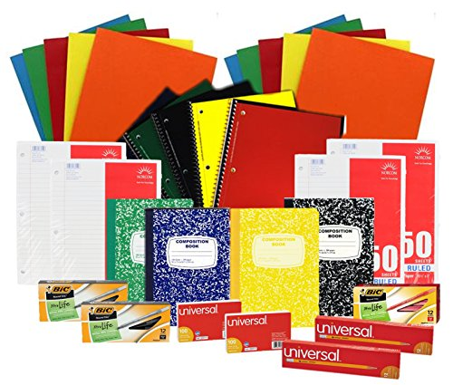 Back to School Pens Pencils Paper Supply Bundle Box (Wide Ruled)