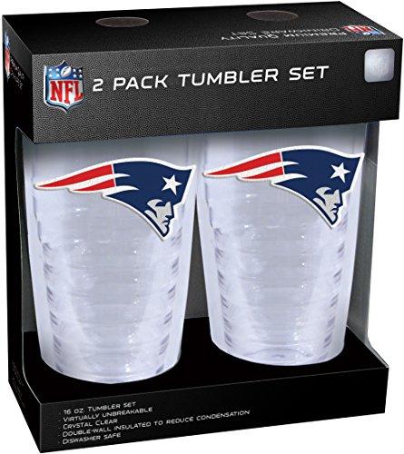 NFL New England Patriots Slimline Tumbler with Patch 2Piece Set, Clear, 16 oz