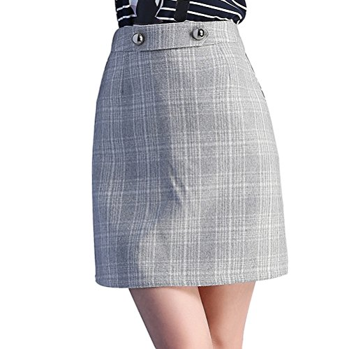 Prettywell Womens Winter Fashion High Waist Plaid Woolen ...