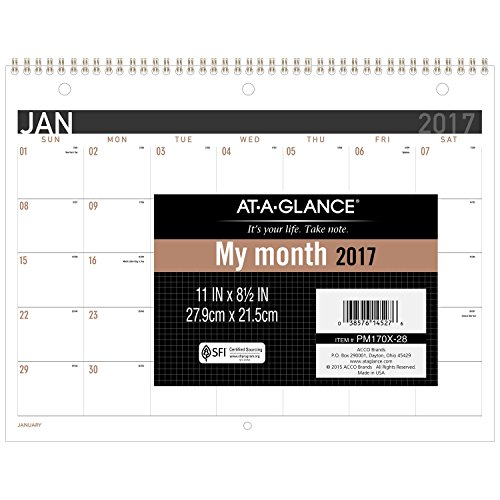 "AT-A-GLANCE Desk / Wall Calendar 2017, Monthly, 11 x 8-1/2"", Wirebound (PM170X28)"