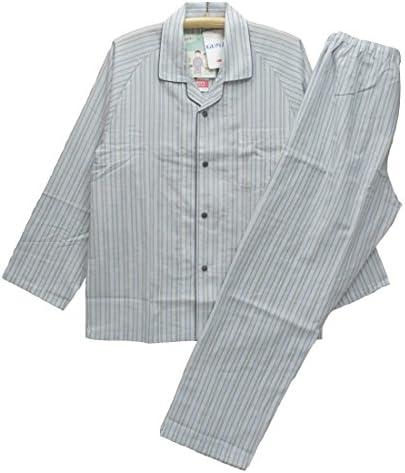 Mサイズ[春夏]紳士長袖・長ズボンパジャマ (グンゼ メンズ) 綿100%ナチュラルクレープ テーラー襟/前あき全開