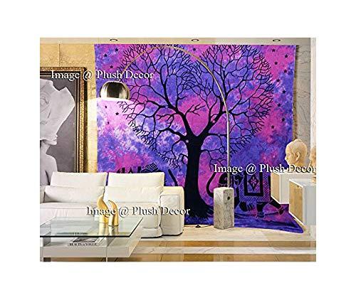 (Plush Decor Pink Purple Tree Elephant Tapestry Tie Dye Tapestries Bohemian Indian Large Hippie Boho Wall Hanging Hippy Beach Throw)