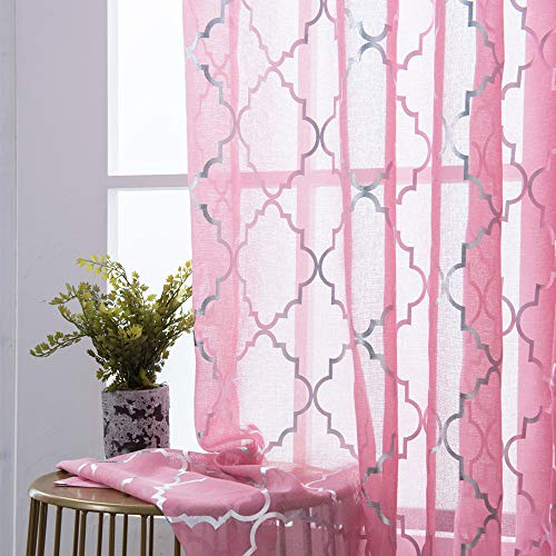 YJ YANJUN Pink Sheer Curtains 63 inch Length -Rod Pocket Voile Drapes with Moroccan Silver Print for Kids Room Short Window Drapes for Bedroom