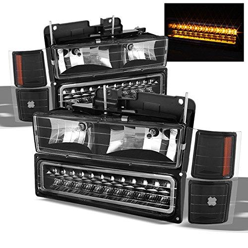 (For Chevy C/K Series Silverado Suburban Tahoe Pickup Truck Black Housing Headlight + LED Bumper + Corner Light Set)