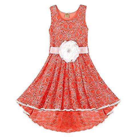 Little Princess Sleeveless Lace Hi-Low Twirl Dress w/Flower Belt Beach Wear Girls Party Dress - Proudly Made in USA by Mia Belle Baby