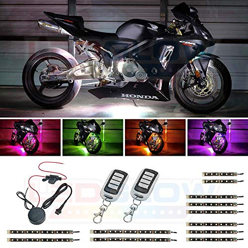 LEDGlow 12pc Advanced Million Color LED Flexible Motorcycle Lighting Strip Kit - 120 LEDs - Waterproof Control Box - 2 Wireless Remotes ()