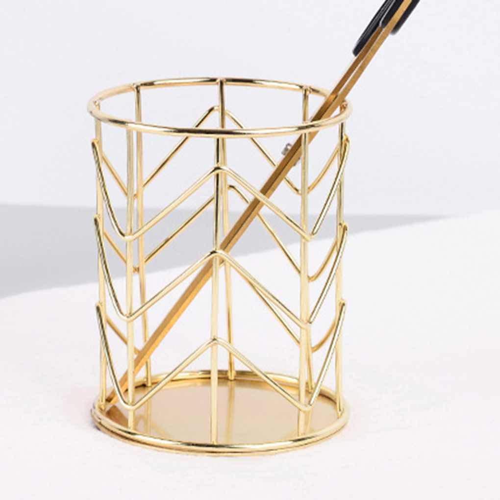 Bodbii /Évider Pinceau de Maquillage Pot Creux Stylo Porte-Organisateur Fer Rond Stylo Pratique Crayon Stationery Coupe Container Stockage