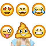 Kimilar 6 set Reusable 3D Emoji Party Masks funny Photo Booth Props for Wedding Party Reunions Birthdays Photo booth Dress-up Accessories(NOT cardboard!)