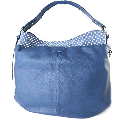 Bolsa de cuero 'Gianni Conti'guisantes azules - 36x28x16 cm.